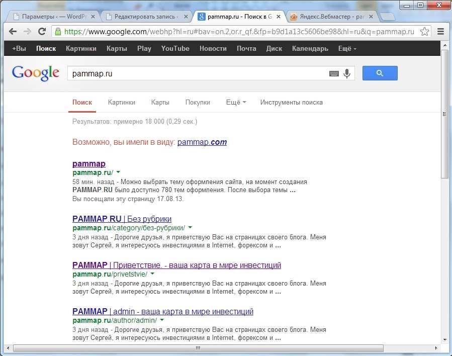 сайт в поиске, сайт в результатах поиска, сайта нет в поиске, почему нет сайта в поиске